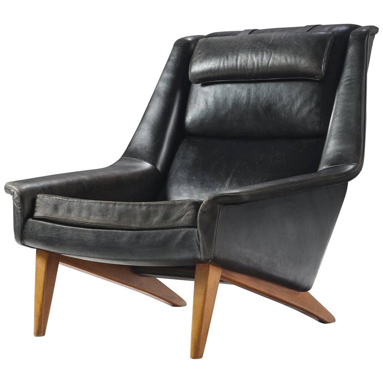 Folke Ohlsson Original Black Leather Lounge Chair for Fritz Hansen