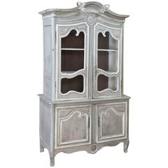 19th Century Country French Whitewashed Bookcase or Vitrine