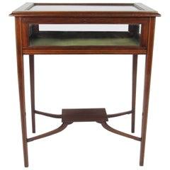 Vintage Inlaid Mahogany Vitrine Table