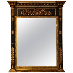Italian Neoclassical Parcel Paint and Gilt Gold Decorated Carved Trumeau Mirror