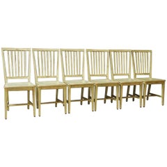 Set of Six Italian Lacquered Slat Back Dining Chairs