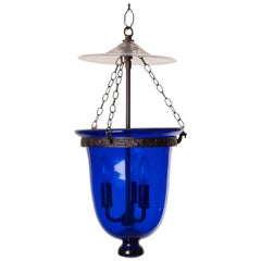 Antique Blue Glass Bell Jar Lantern with Clear Cover, circa 1860