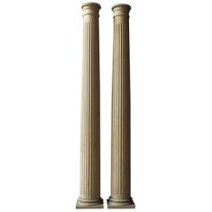 Pair of Neoclassical Fluted Wood Columns