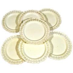 Set of Six English Creamware Openwork Plates, circa 1785-1795