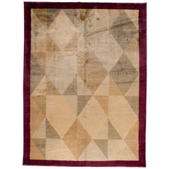 Red and Gold Geometric Rug