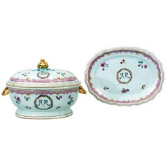 Chinese Export Porcelain Famille Rose Soup Tureen, Cover and Stand, circa 1775