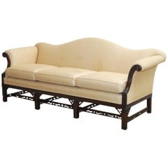 Chinese Chippendale Style Carved Mahogany Camelback Sofa