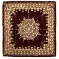 Early 20th Century Indian Burgundy Velvet, Gold Thread, Zardozi Cover