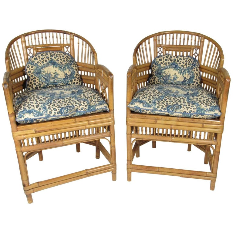 Pair of Antique Chinese Chippendale Style Bamboo Cane Seat Armchairs