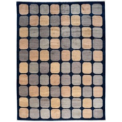 Contemporary Navy Rug with Square Details