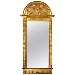 Early 19th Century Swedish Carved Giltwood Pier Mirror