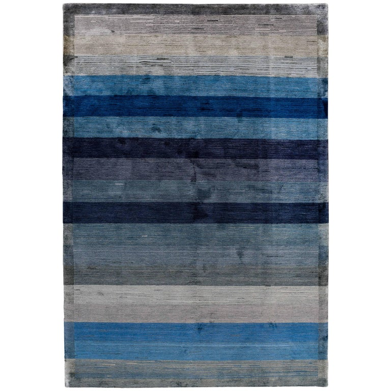 Blue And Grey Stripe Rug For Sale At 1stdibs