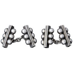 Rare Georg Jensen Sterling Chain Double Cufflinks # 61b by Harald Nielsen, 1940s