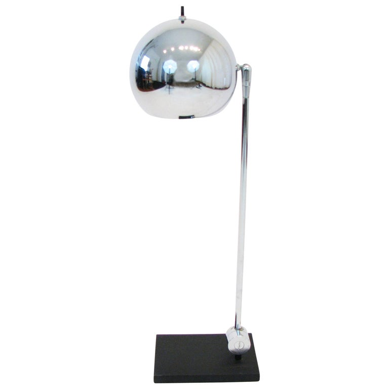 Midcentury Polished-Chrome Orb Table Lamp by Robert Sonneman