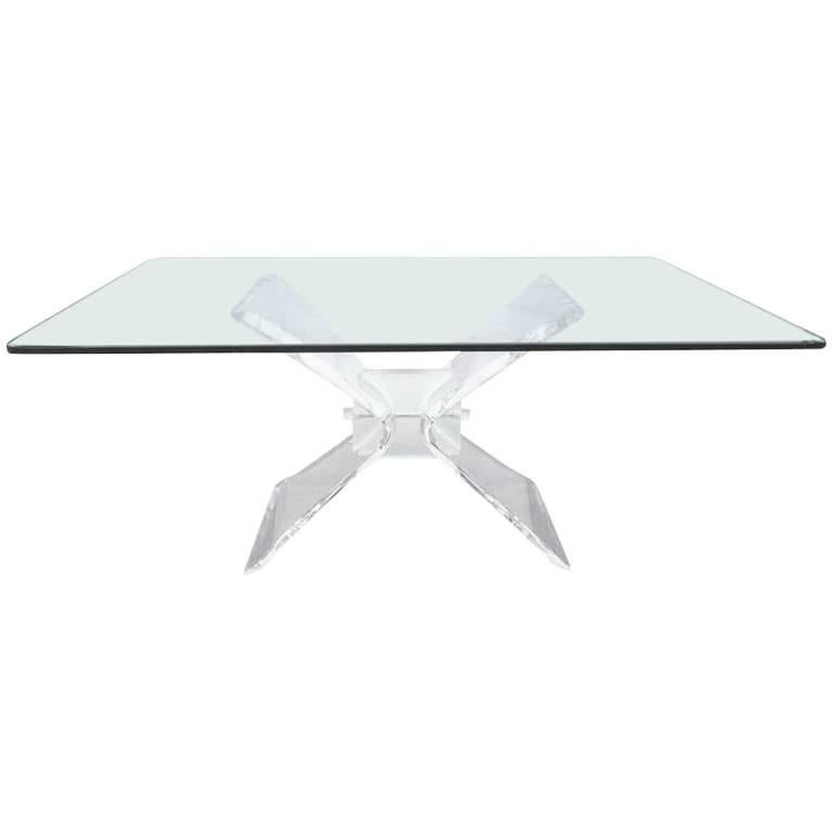 Mid-Century Modern Lucite and Glass Dining Table by Lion in Frost For Sale