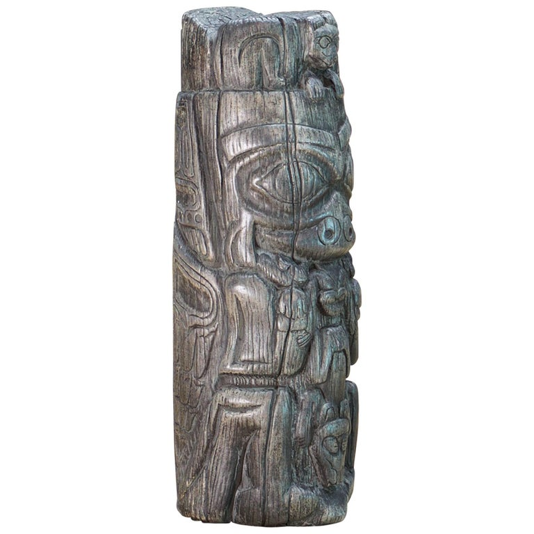 Vintage Northwest Silvery Grey TOTEM Painted Chalkware Sculpture Paperweight