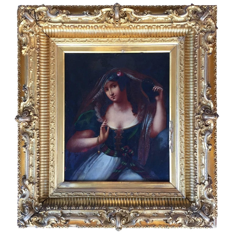 Old Master Portrait of a Maiden Oil on Tin in Elaborate Gilt Frame