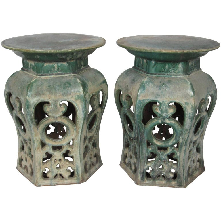 Pair of Chinese Early Qing Dynasty Green Glazed Garden Seats