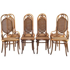 Set of Eight with Two-Arm Six Side Thonet 207R Long John Bentwood Caned Chairs