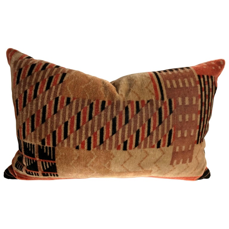 Custom Pillow Cut from a Hand Blocked Mohair Amsterdam School Textile