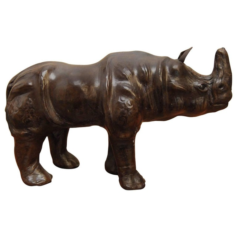 Midcentury Leather Wrapped Rhino Sculpture