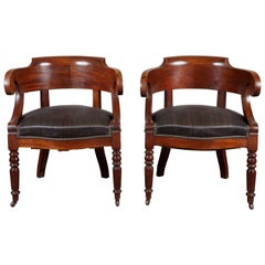 Pair of 19th Century Swedish Mahogany Armchairs with Horsehair Upholstery