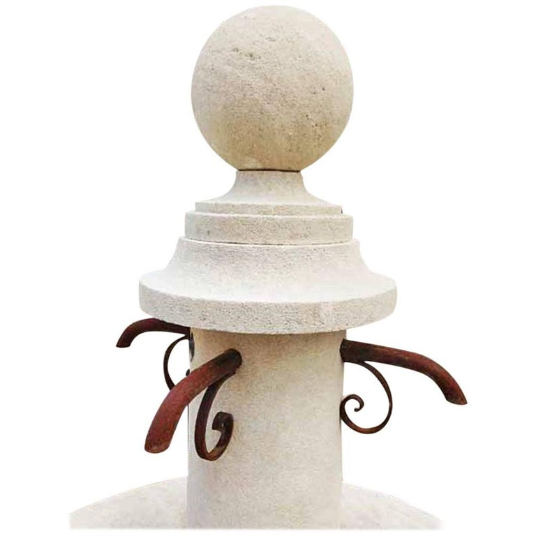 Hand-Carved Limestone Central Fountain For Sale