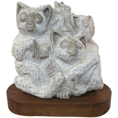 1960s Marble Sculpture of Lemurs