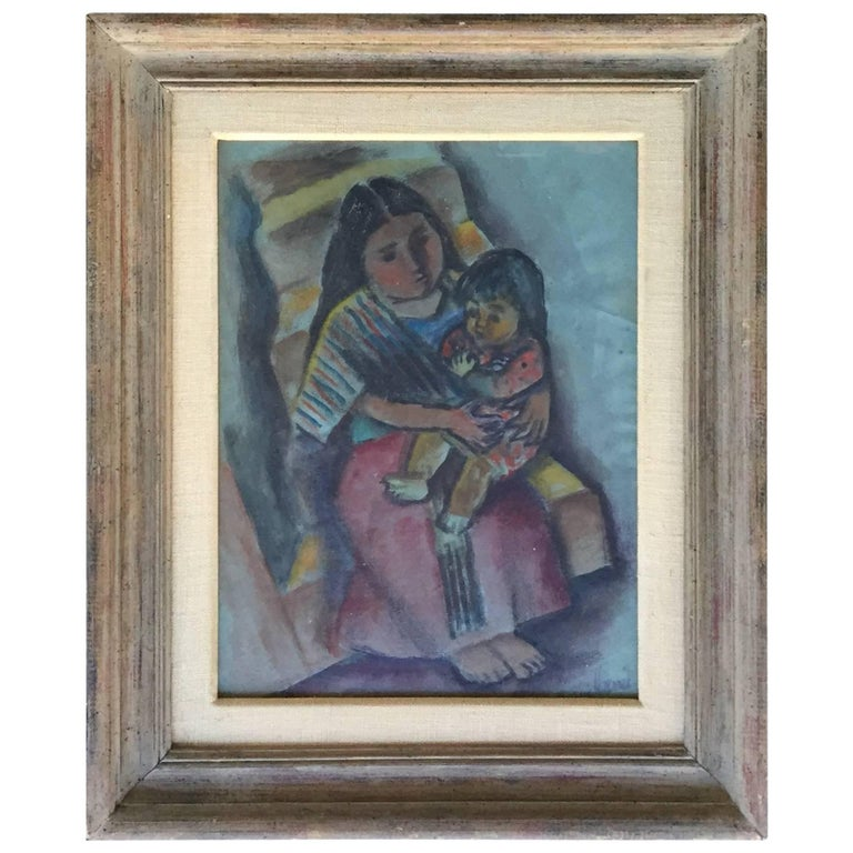 Mother and Child Pastel Painting Central or South American Signed