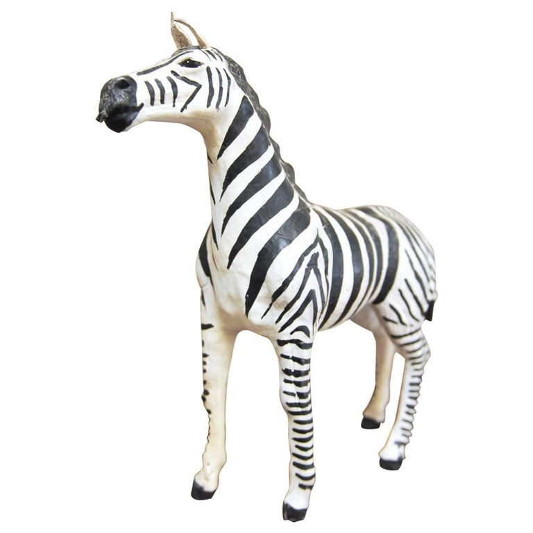 Midcentury Leather Wrapped African Zebra Sculpture