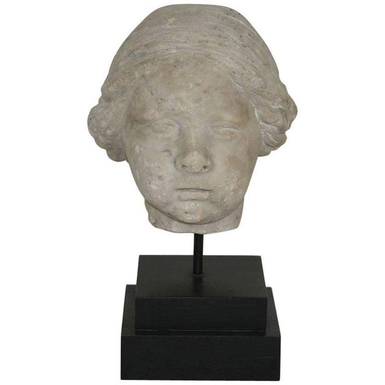 Italian 17th Century Marble Head of an Angel