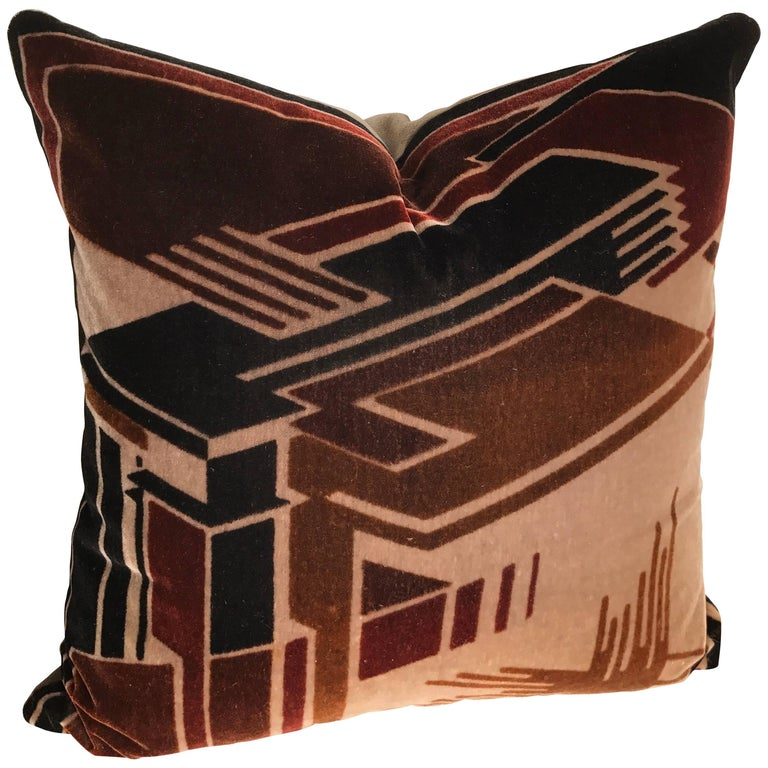 Custom Pillow Cut from a Rare Hand Blocked Mohair Amsterdam School Textile