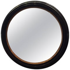 Vintage Colossal Round French Black Painted and Gilt Wood Framed Mirror
