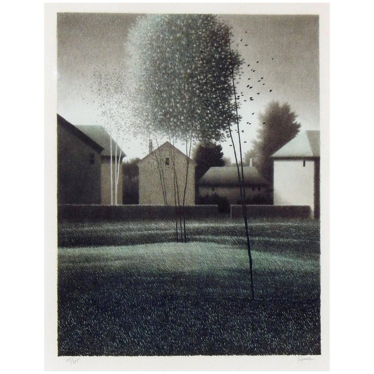 "Robert Kipniss Color Lithograph, 1994, ""Approaching Town, Dawn"""