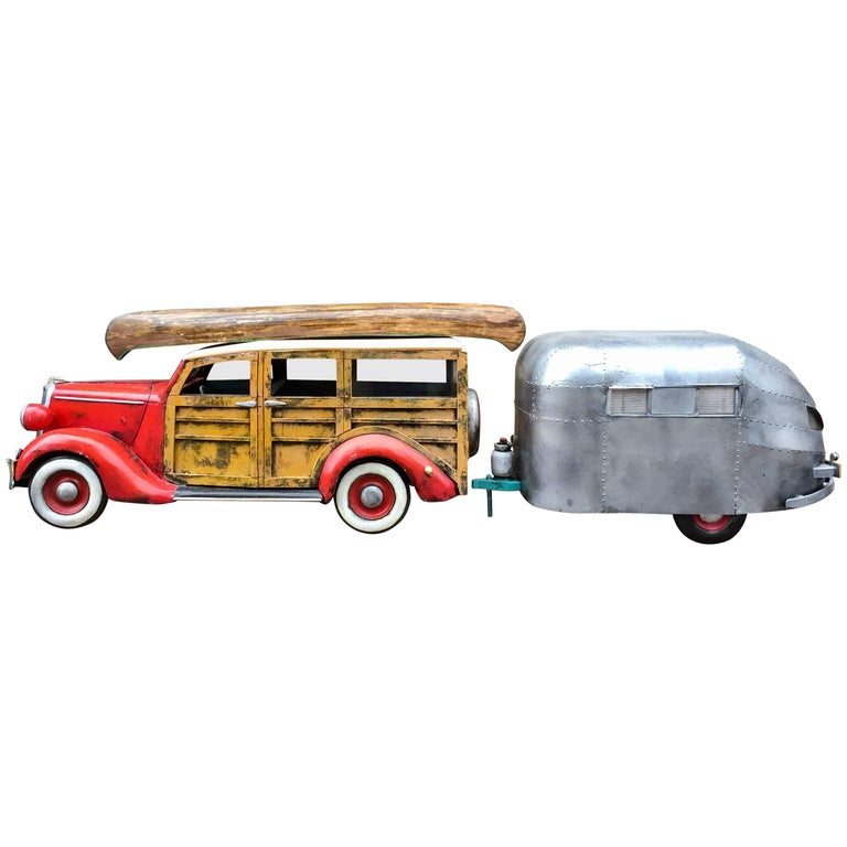 Woody Wagon and Airstream Painted Wood Sculpture by Paul Jacobsen