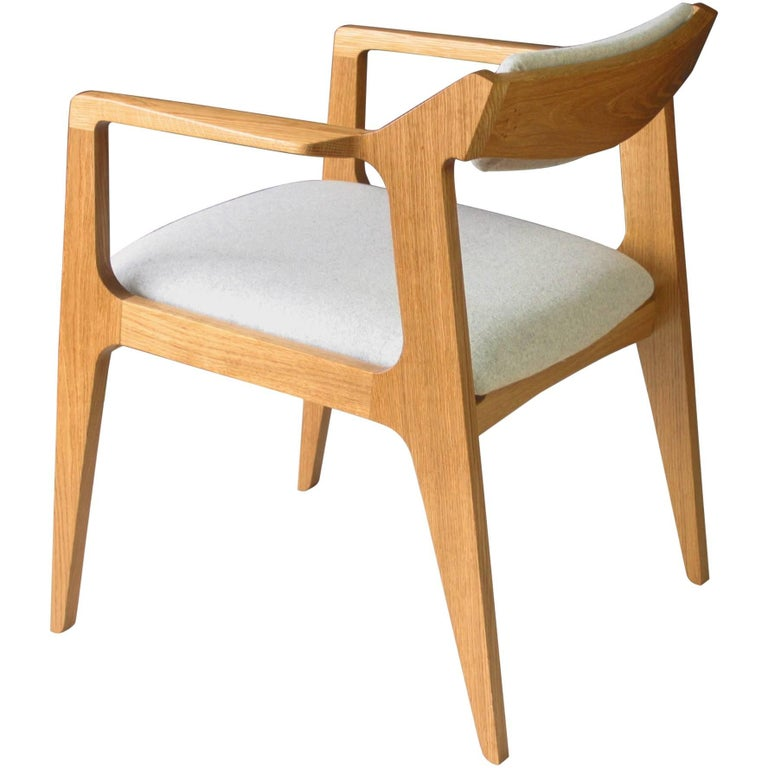 Modern Side Chair in White Oak with Heathered Grey Upholstery For Sale