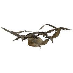 Brutalist Bronze Sculpture Birds in Flight