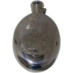 19th Century Victorian Sterling Silver Antique Hip Flask Birmingham