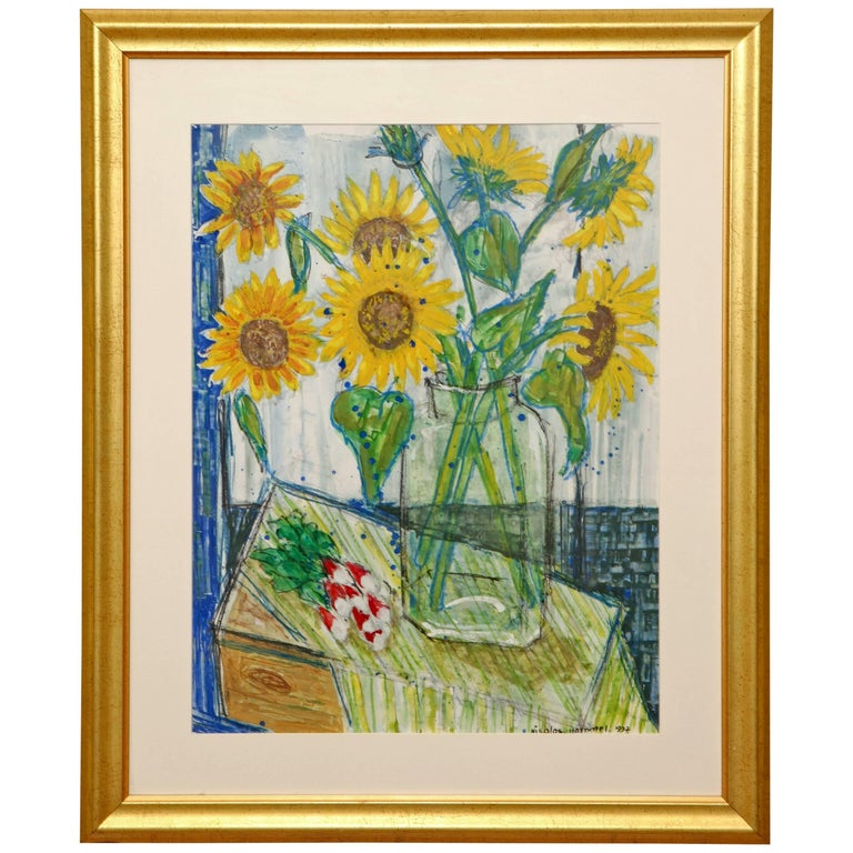 Sunflower Painting by French Artist Nicolas Hammel For Sale