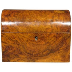 19th Century Dome Topped Tea Caddy in Burl Walnut, England Circa 1860
