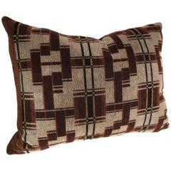 Custom Pillow Cut from a Rare Hand-Blocked Mohair, Amsterdam School Textile
