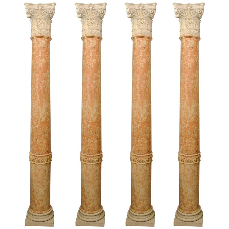 Set of Four 19th Century Half-Columns in Red Verona Marble and Vincenza Stone