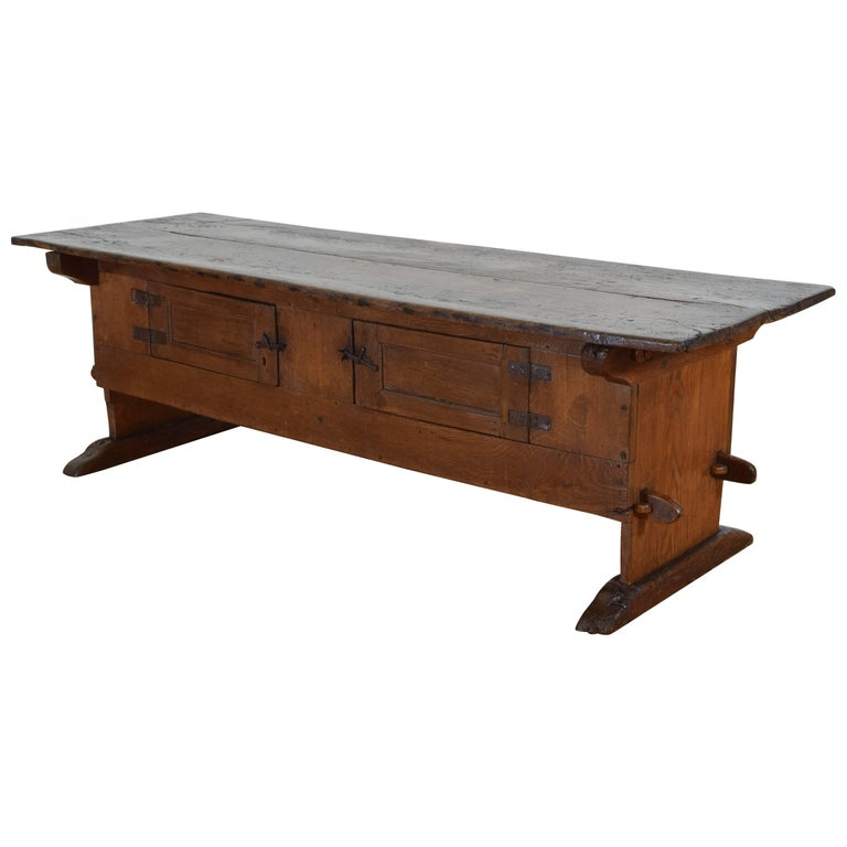 Unusual Swiss Oak Rustic Table with Hinged Doors, 17th-18th Century