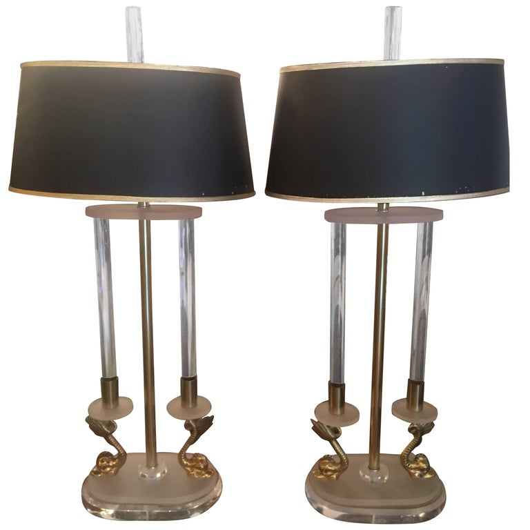 Pair of Neoclassical Brass and Lucite Koi Table Lamps