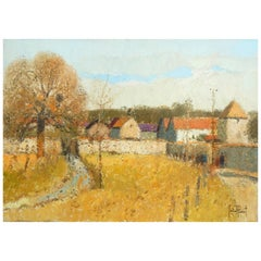 French Artist Gerard Passet Oil on Canvas - White Wall Landscape