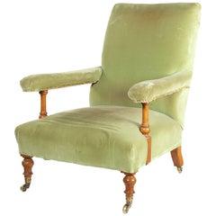 Victorian Walnut Easy Open Armchair by Howard & Sons Ltd