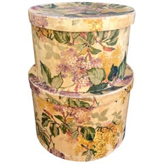Chic Pair of 1930s Wallpaper Covered Hatboxes, Property Beales of Grey Gardens