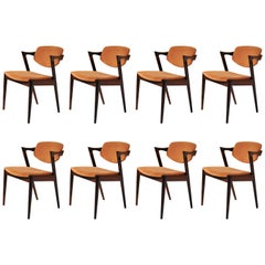 1960s Set of Eight Kai Kristiansen Model 42 Dining Chairs in Rosewood