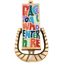 "Midcentury Door Knocker ""Peace To All Who Enter Here"" Brass & Enamel, 1969"