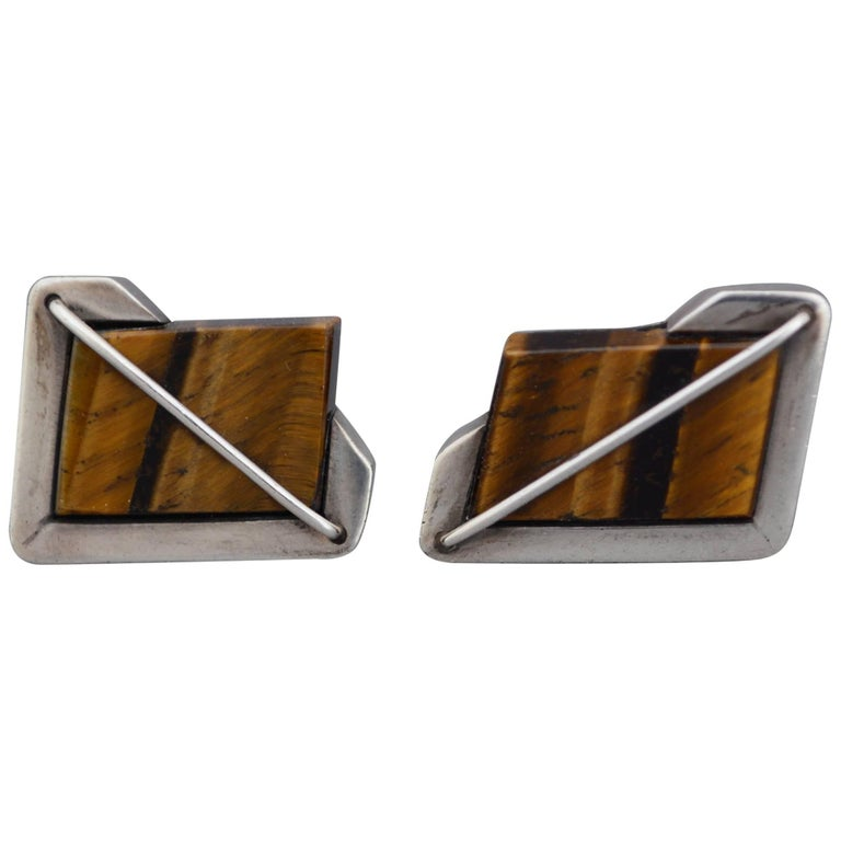 Rancho Alegre Modernist Sterling and Tiger Eye Cuff Links  For Sale